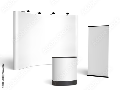 Exhibition Booth Vector : Quot trade show booth mock up vector isolated on white