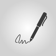 The signature icon. Pen and undersign, underwrite, ratify symbol. Flat