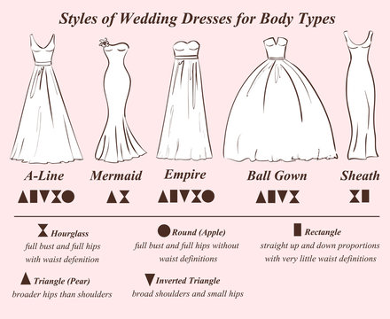Set of wedding dress styles.