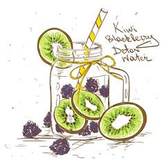 Sketch illustration of Kiwi Blackberry detox water.