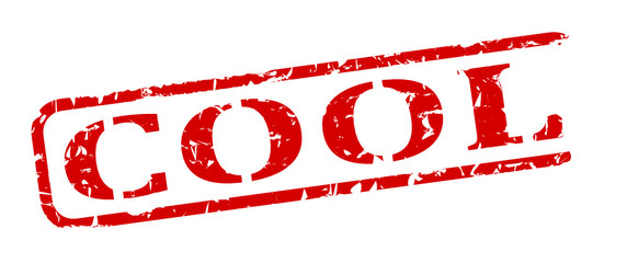 Damaged oval red stamp with the word - cool - vector