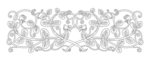 Floral ornament in medieval style. Pattern of interwoven stems, foliage and flowers. Vector frame, elegant vignette, design element and page decoration