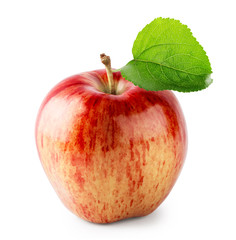 Red juicy apple with green leaf