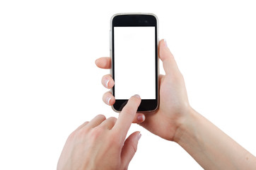 Human hand touching smart phone screen isolated on white background