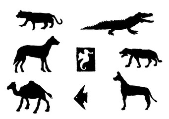 set of different animals. vector illustration