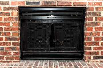 Fireplace with brick wall. color image in horizontal orientation