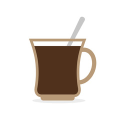 Coffee mug. Cup of hot coffee and a spoon. Vector illustration