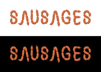Sausages. Letters from sausages. Font from meal. Vector illustra