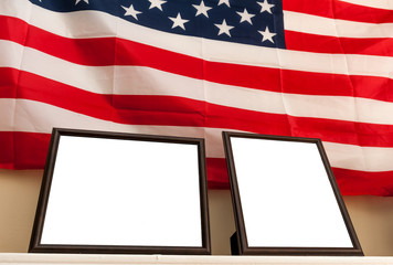 Bank photo frames on a shelf with american flag background