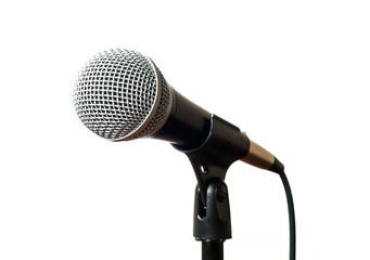 Microphone close up isolated on white background