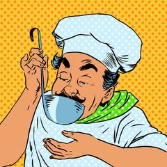 chef tastes food kitchen
