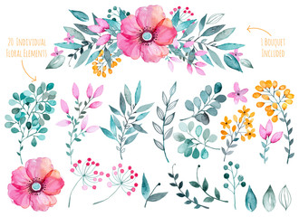 Vector floral set.Colorful purple floral collection with leaves and flowers