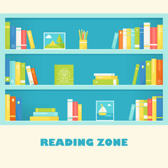 Bookcase Shelves with Books and Pictures. Reading Zone Sign. Vector EPS 10