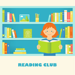 Girl Reading a Book against Library Bookshelves with Book. Vector EPS 10