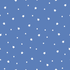 Seamless pattern with stars on blue background. Night sky nature illustration. Cute baby shower background.