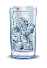 Glass of water. Ice cubes. aeration