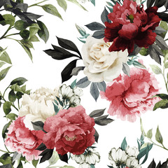 Obraz Seamless floral pattern with roses, watercolor. Vector illustrat - fototapety do salonu
