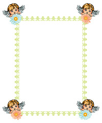 Green frame and flying angels holding flowers