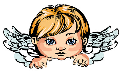 Portrait of an little angel isolated on a white background