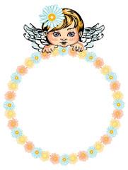 Round flower frame with little angel