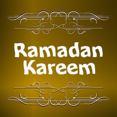 Ramadan Kareem gold lettering star new moon, mockup Islamic greeting card