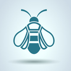 Honey Bee icon, Flat style, vector