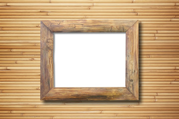 blank wooden frame on bamboo wall background