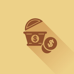 Money and box business icon, Flat style, vector