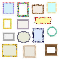 A set of fourteen frames made up of different elements.