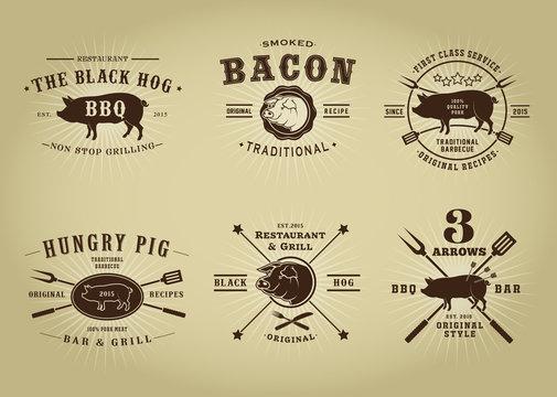 Vintage Retro Pork Barbecue Bar Restaurant Seals Collection