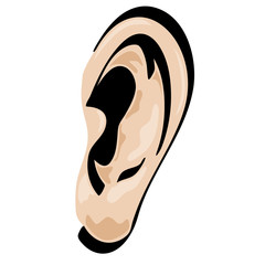 Ear Vector Cartoon shaded