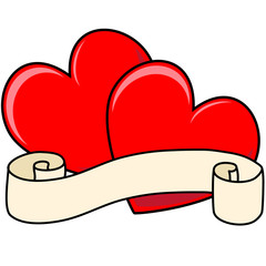 Two Hearts with Scroll