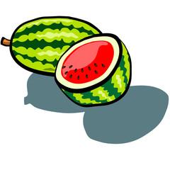 Watermelon Whole and Half