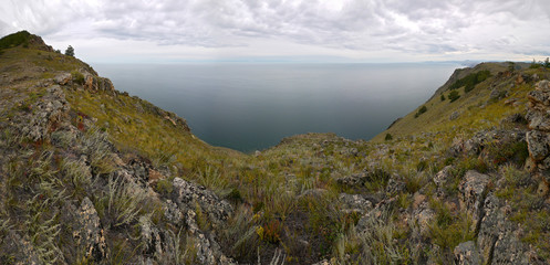 The mysterious island of Olkhon on lake Baikal. The landscape of
