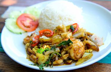 fried basil seafood and rice