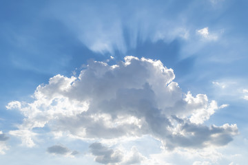 light through beautiful cumulus cloud with sky background