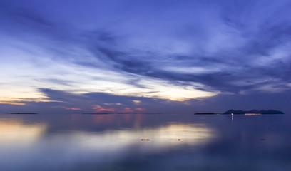 Cloudy sky and blue sea