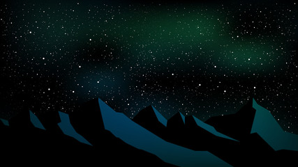 Night time starry sky, mountain landscape. Vector illustration.