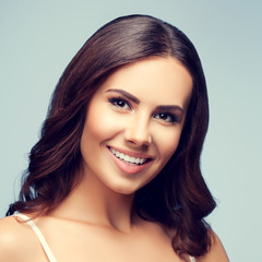 happy smiling young lovely brunette woman