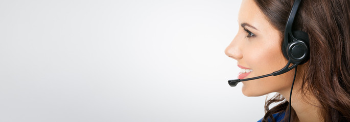 female support phone worker in headset
