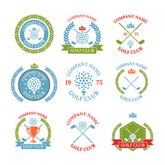 Golf club logos set of templates.Vector logotype design. White G