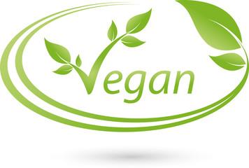 Vegetarisches Logo mit Blättern, Vegan, Pflanze
