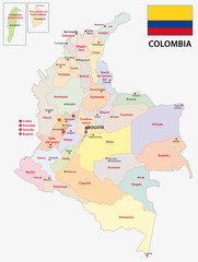 colombia administrative map with flag