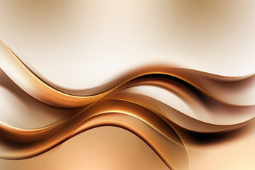 Photo sur Plexiglas Fractal waves Dark Gold Amazing Abstract Waves Background