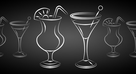 Set of alcoholic cocktails illustration