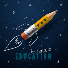 Smart education. Rocket ship launch with pencil - sketch on the blackboard