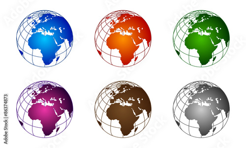 3d global globe world map africa colorful vector