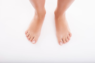 Young healthy woman is presenting her feet