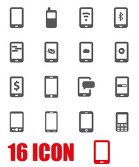 Vector grey mobile icon set