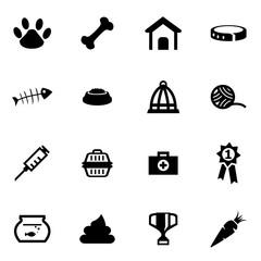 Vector black pet icon set